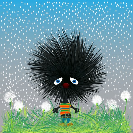 Background sketch with a sad hadehog on a dandelion field in the rain Vector