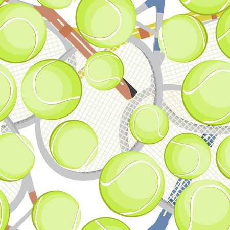 Seamless background with tennis balls and rackets Stock Vector - 8146605