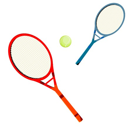 Tennis rackets and ball over white background Vector