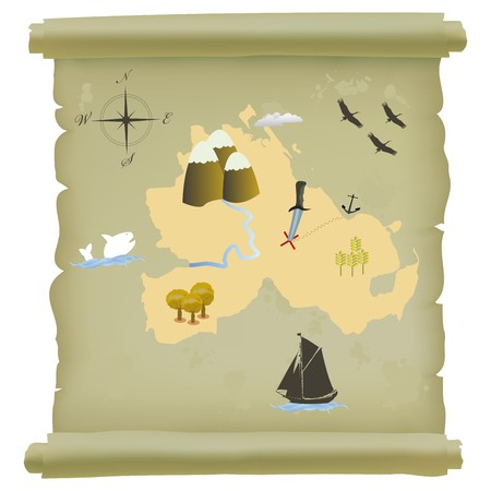 Papirus roll with treasure island map. Isolate object over white background Vector