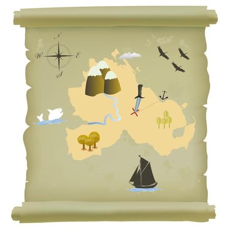 Rouleau de papirus avec la carte de l'île au trésor. Isoler l'objet sur fond blanc