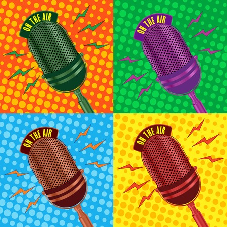 host: Pop art, old radio microphone background