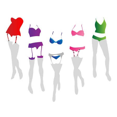 provocative: Collection of women lingerie in colors