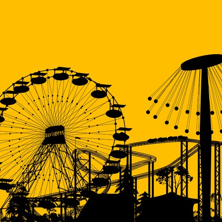 amusement: Amusement park background with room for text