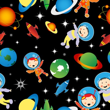 spacecraft: Childlike drawing with astronauts and planets, stars, pattern
