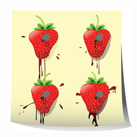 nailed: Strawberries nailed on paper, background art