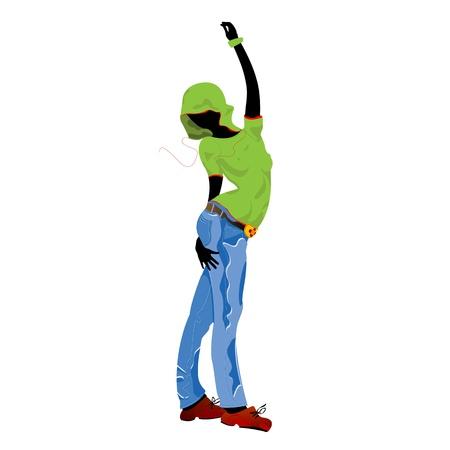 hip hop dance pose: Cool chica adolescente bailando
