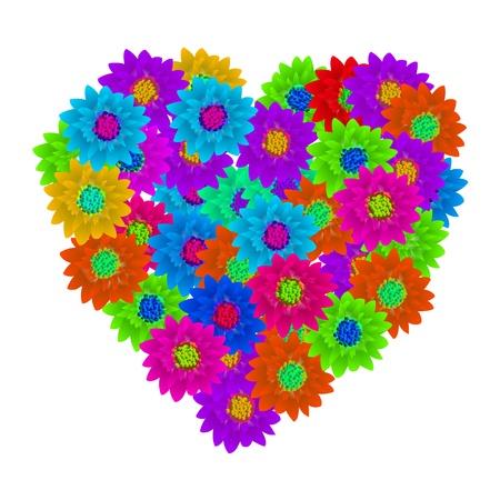 Hart shape floral bouquet, Valentine background photo