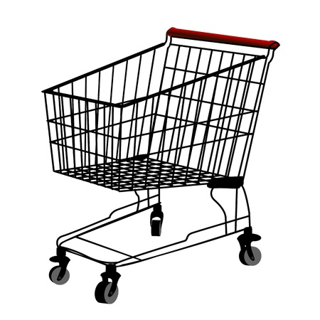 isolatd: Shopping trolley silhouette, isolatd object over white background