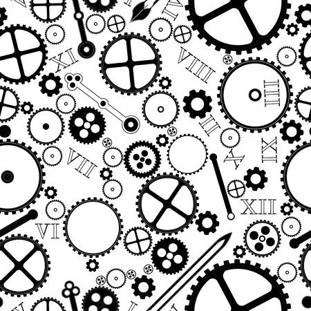 watch movement: clock pieces design,seamless background