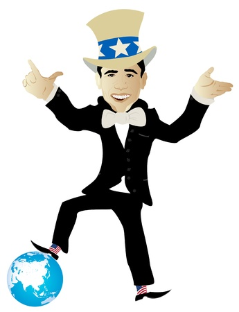 politician:  politician playing with earth globe