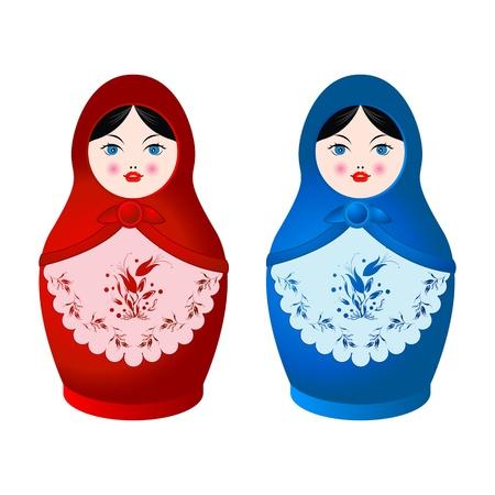 peasant woman: Two beautiful Matryoshka dolls Stock Photo