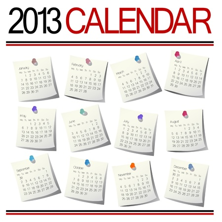 2013 Calendar on white sheets