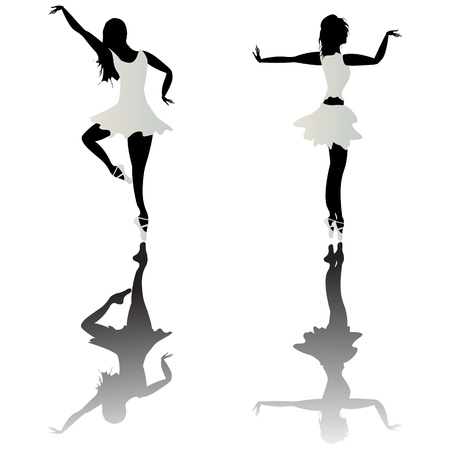 Ballet dancer silhouettes and reflection over white background photo