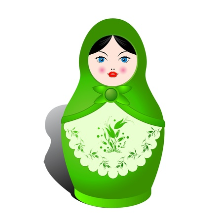russian blue: Russian nesting doll and shadow over white background
