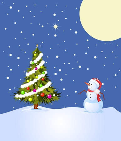 Holly night, illustration with snowman and decorated Christmas tree Stock Illustration - 8467724