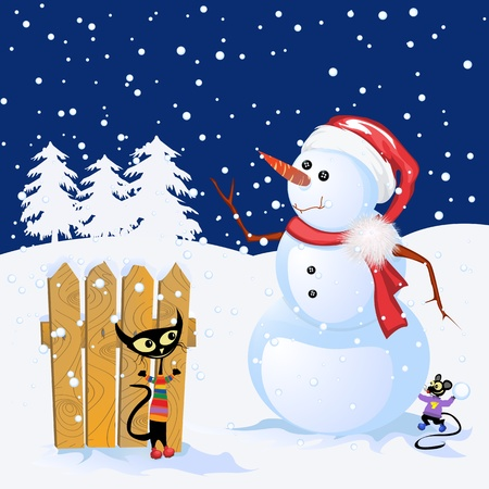 Winter Holiday background with snowman and cute animals plying in the snow photo