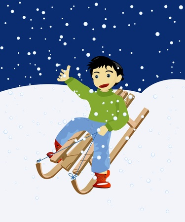 toboggan: Happy kid on a wooden snow sledge