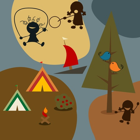 Childlike drawing of kids playground Vector