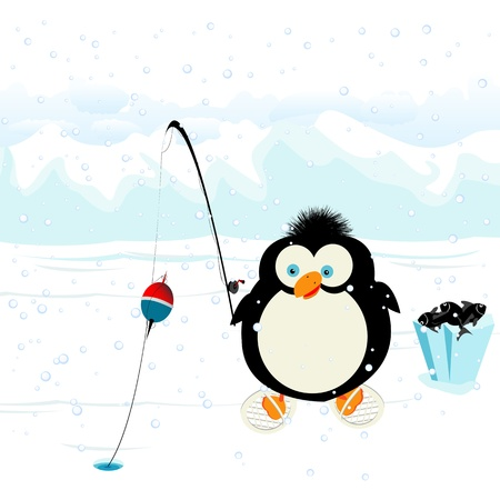 ice fishing: Funny penguin fishing on ice