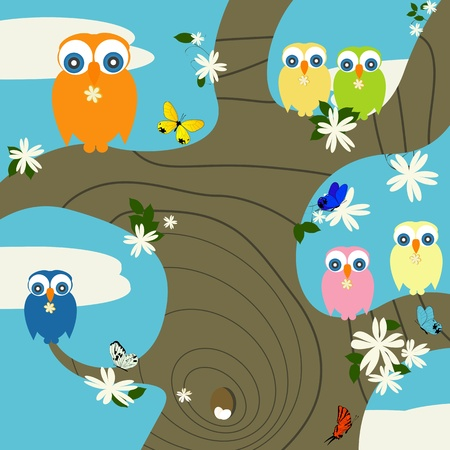Creative background for springtime with cute owls and butterflies Vector
