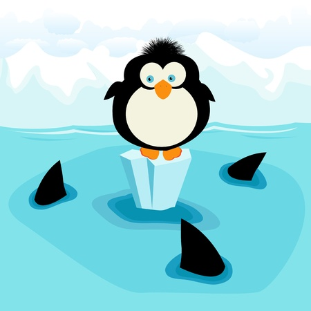 Little penguin and three sharks Vector
