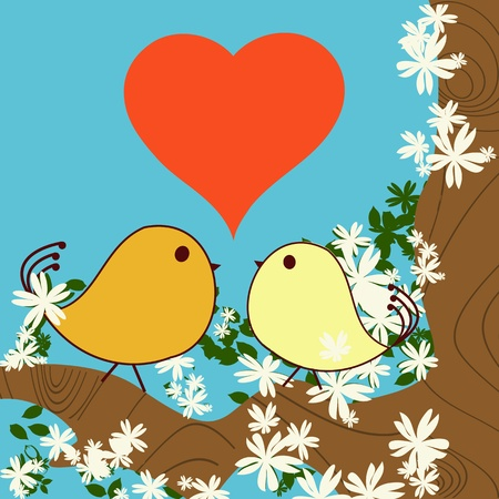 Valentine Day background with love birds Stock Vector - 8543519
