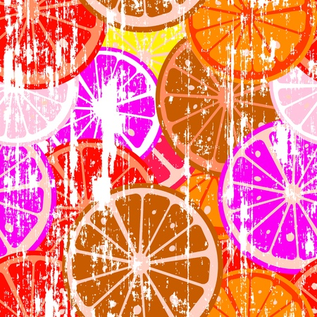 Grunge label with lemon slices Stock Photo - 8613907