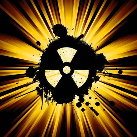 nuke: abstract background with exploding rays nuclear hazard symbol Stock Photo