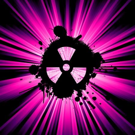 nuke: background with exploding rays nuclear hazard symbol