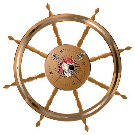 Pirate ship steering wheel with pirate skull photo