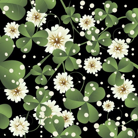Background illustration with clover leaves and flowers, abstract art Stock Illustration - 8613917