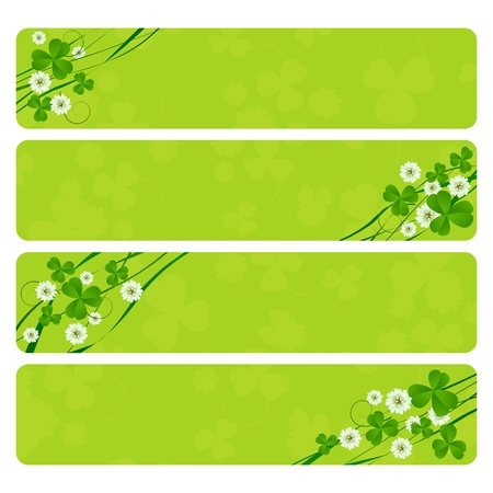 St. Patricks Day header collection with clover foliage photo