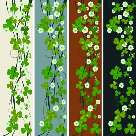 Vertical headers with clover leaves and flowers, St. Patricks Day design photo