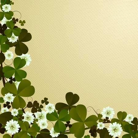 four leafed clover: Corner, border design with clover leaves, Patricks Day card Stock Photo