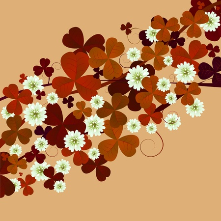 three leafed clover: Floral card with clover leaves and flower in sepia tones, St. Patricks Day card