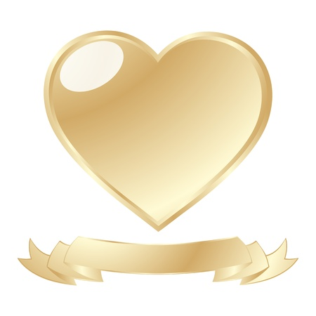 A golden shiny heart and scroll against white background Stock Photo - 8639060