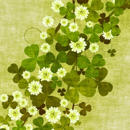 three leaves: Grunge floral background with clover leaves and flowers