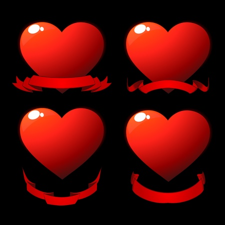 Red shiny hearts with scrolls over black Stock Photo - 8639072