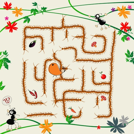 Cartoon art illustration with funny ants and maze Stock Illustration - 8655065