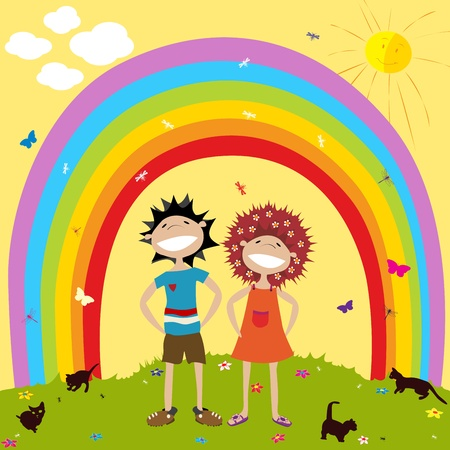 underneath: Smiling couple underneath a rainbow Illustration