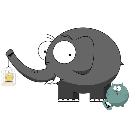 Cartoon characters, elephant protecting small bird from a cat