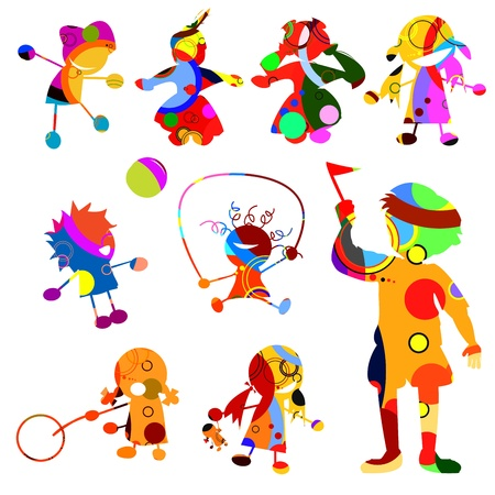 Group of children: Children silhouates made from circles