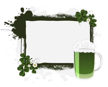leafed: St. Patricks green beer and clovers, banner Illustration
