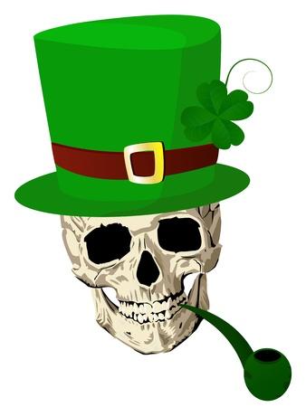 four leafed clover: Cr�neo de St.Patrick con cuatro hojas de tuber�a y sombrero de tr�bol