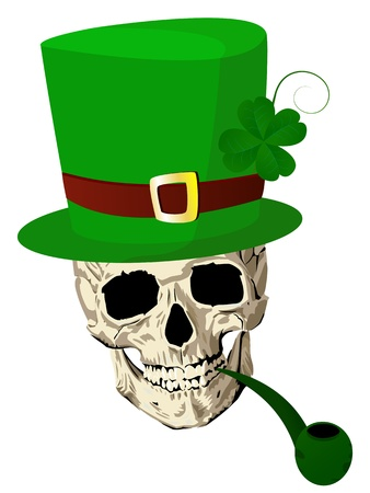 three leaves: St.Patrick skull with four leaves clover hat and pipe