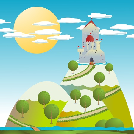 Cartoon background with a medieval castle