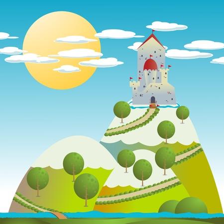 castello medievale: Sfondo di cartone con un castello medievale Vettoriali