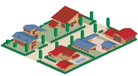 residential district: Cartoon map of a residential district area