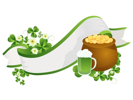 three leafed clover: Decorative ribbon with beer pint, pot of gold and clover leaves Illustration